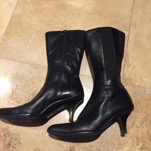Prada short-heel rubberbottom leather boot
